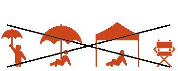 タープやパラソル、日傘、その他視界の妨げとなる 折りたたみイスは禁止です。